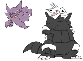 Pokedump haunter and Aggron by CasFlores