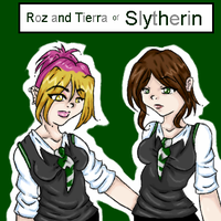 Tierra and Roz of Slytherin by faerynatasha
