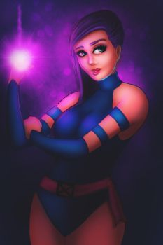 psylocke pinup by TRAVELLINGTHEC0SM0S