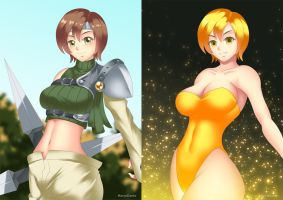 Yuffie (before-after) by HaryuDanto