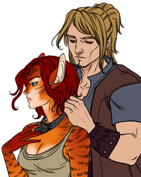Couples Sketch__Trygve and Aelia by BlackBirdInk