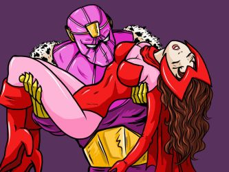 Unconscious Scarlet Witch carried by Baron Zemo by cuttlesquid