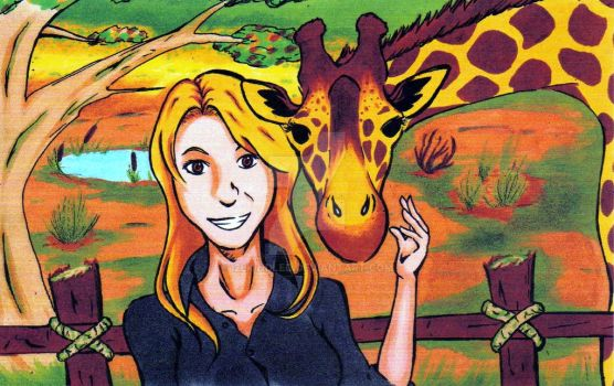 Ashley and Her Giraffe by I2ekindled
