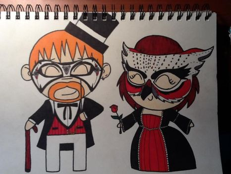 Steampunk Tyler and I Chibi (Colored) by themammapajamma