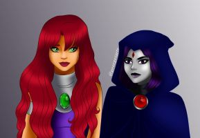 starfire and raven by georgetarts