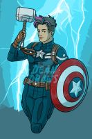 Commission - Lady!Cap with Mjolnir by DeanGrayson