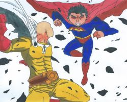 Superman Vs Saitama by Bluexorcist93