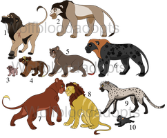 {closed} Feline Assortment by WolfBloodAdopts