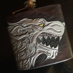 House Stark Family Sigil - Hip Flask by aGrimmDesign