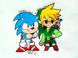 Crossover- Classic sonic and toon link!  by Gengargamer64