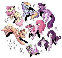 lots of ponies (and spike) by ATinyShadow