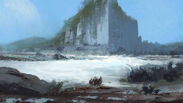 Iron moon temple, speedpainting by bungyx