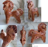 Ceramic clay horse whistle by Drerika