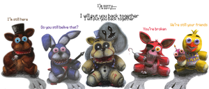 I will put you back together - FNaF Plushes by Rayquazanera