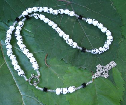 Gothic Skull Bead Rosary with Celtic Cross by SacredJourneyDesigns