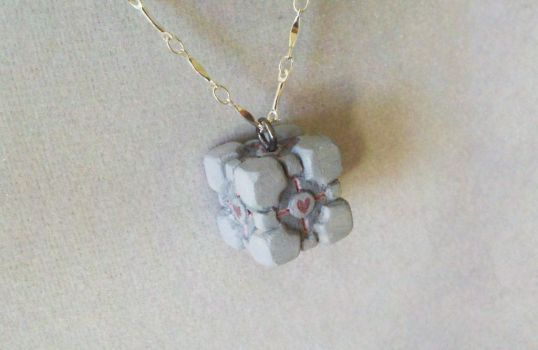 Companion Cube Necklace by IllusionTree