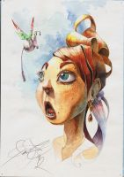 Watercolor 008 Girl and fatfly by fear-sAs
