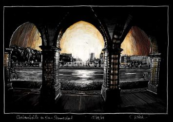 Sunset on Oberbaumbruecke colored by RoodyN