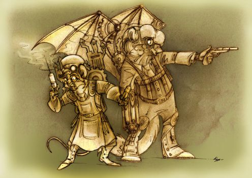 Steampunk Frederick Treves and Joseph Merrick. by FortunataFox