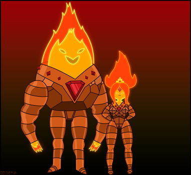 Father and Daughter-Flame Princess and Flame King by Andrasfu1027