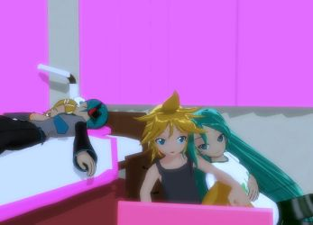 Miku and Len not sleep yet by sandazax