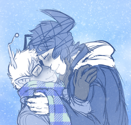 COMMISSION: Let's keep each other warm... by DarkChibiShadow