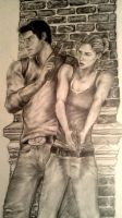 Nathan Drake and Elena Fisher Drawing by GearsGirl6295