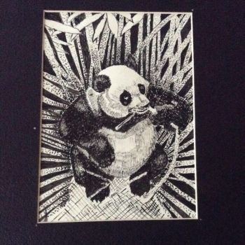 Panda pen and ink by WhitneyHarris