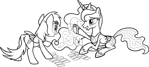 Games Ponies Play (line art, Luna and Derpy) by tygerbug