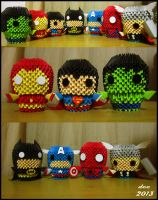 MARVEL Superheroes  3D Origami by deerexx