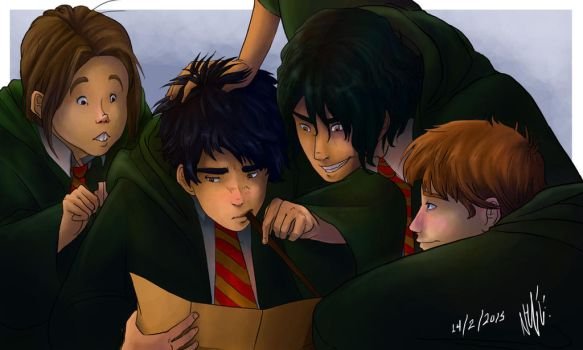 Moony, Wormtail, Padfoot and Prongs by DimitraDakaki