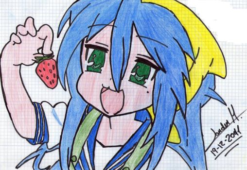 Konata with a strawberry by Archerus