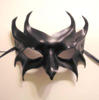 Impish Black Leather Mask by teonova