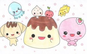 Kawaii sweets characters by VioletLunchell