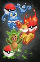 Pokemon X and Y starters poster by Sacari