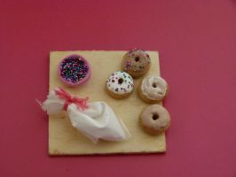 Cute Polymer Clay Donuts + Icing Bag by greencrazy1999