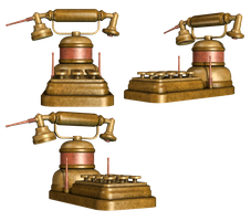 Steampunk Telephone PNG Stock by Roy3D
