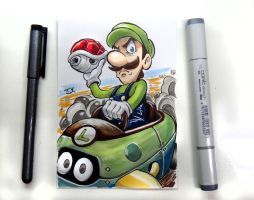 Luigi Death Stare Sketch Card by thiagospyked