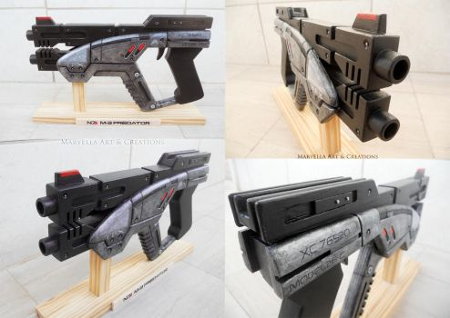 Mass Effect: M-3 Predator 1:1 wood replica by MithriLady