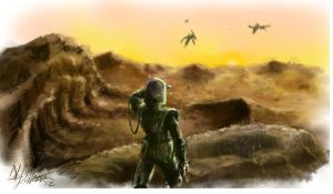 Martian sunrise, Pterodactyl Riders Approach by IronImage