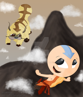 Aang and Appa by Ggeenss