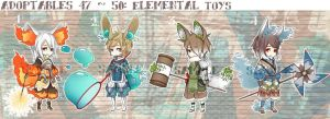 [CLOSED] Adoptables 47~50: Elemental Toys by Staccatos