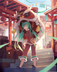 Lion Dance Miku by natsumoka