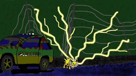 Mashup Challenge Zombie Jolteon in Jurassic Park by UnstoppableCOW