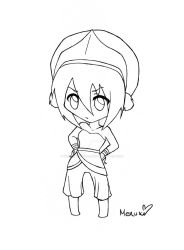 Toph Chibi Outlines. by TwinkletoesReloaded