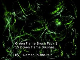 (Requested) Green Flame Gimp Brush Pack 1 by Demon-in-the-rain
