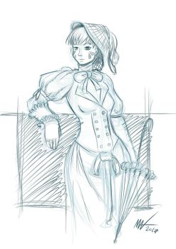 Request Victorian D.Va (sketch) by zookeeper02
