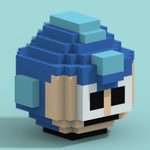 Megaman 8B - Head -Voxel (Papercraft) by Valkno