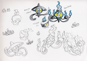 Litwick, Lampent, n Chandelure by Marioshi64