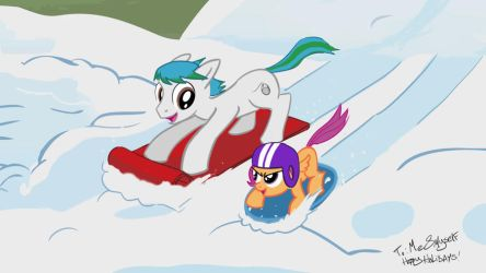 ponies in the snow merry xmas!! by lookup4napkins